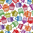 Shopping basket icons seamless background, supermarket shopping simplistic symbols vector collections made as seamless pattern. — Stock Vector #55765849