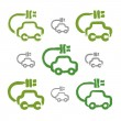 Set of hand-drawn green eco car icons, collection of illustrated — Stock Vector #55769159