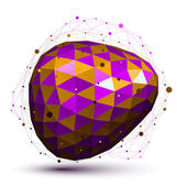 Purple distorted 3D abstract object with lines and dots isolated — Stock Vector