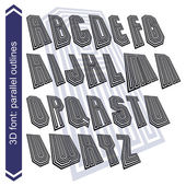 Outlined rotated vector font, monochrome lined letters set. — Stock Vector