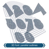 Rotated striped dimensional numbers, vector geometric numeration — Stok Vektör