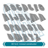 3d retro font in rotation, stylish vector letters design. Upperc — Stock Vector