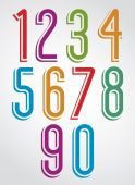 Thin elegant bright animated rounded numbers with white outline. — Vetorial Stock
