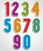 Extensive colorful animated rounded numbers with white outline.  — Vettoriale Stock