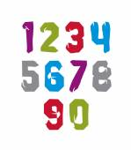 Modern watercolor brushed numbers set, hand-drawn colorful styli — ストックベクタ