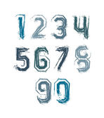 Handwritten colorful vector freak numbers, stylish digits set dr — Stock Vector