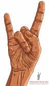 Skała pod ręką znak, rock n roll, hard rock, heavy metal, muzyka, d — Wektor stockowy