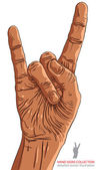 Rock on hand sign, rock n roll, hard rock, heavy metal, music, d — Stock Vector