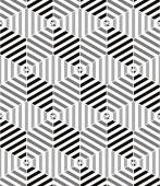 Lined cubes seamless pattern, black and white vector background. — Stock Vector