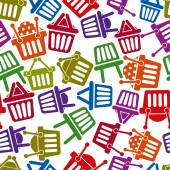 Shopping basket icons seamless background, supermarket shopping simplistic symbols vector collections made as seamless pattern. — Vettoriale Stock