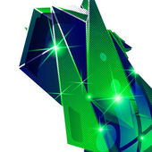 Plastic grain fond, emerald dimensional geometric template, spar — Stock Vector