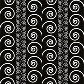Curly floral plants seamless pattern, black and white vector background. — Stock Vector