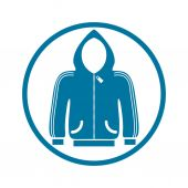 Cloth icon, vector illustration of sweater with a hood. — Stock Vector