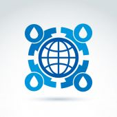 Water circulation around the globe icon, vector conceptual styli — Stock Vector