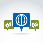 Globe with leaves growing and speech bubbles icon, ecological en — Vecteur