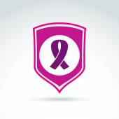 Breast cancer ribbon placed on a purple shield, vector healthcar — Stock Vector