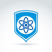 Science defending conceptual symbol, vector icon with shield and — Stockvektor