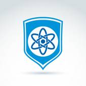 Science defending conceptual symbol, vector icon with shield and — Cтоковый вектор