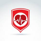 Cardiology protection heart cardiogram icon, cardio, vector conc — Stock Vector