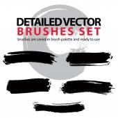 Set of grunge detailed hand-painted brushstrokes, black illustra — Stock Vector
