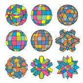 Collection of 9 complex dimensional spheres and abstract geometr — Vettoriale Stock