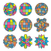 Collection of 9 complex dimensional spheres and abstract geometr — Vector de stock