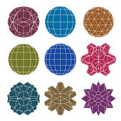 Collection of 9 single color complex dimensional spheres and abs — Vector de stock