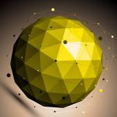 Gold abstract spherical vector object with lines mesh placed ove — Stock Vector
