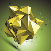 Gold abstract asymmetric vector object with lines mesh over shad — Wektor stockowy