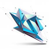 Blue abstract 3D structure polygonal vector object, cosmic netwo — Stock Vector