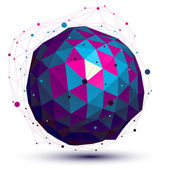 Geometric colorful figure with wire mesh, spherical modern scien — 图库矢量图片