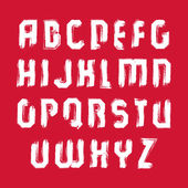 Vector white hand-painted capital letters isolated on red backgr — Stockvektor