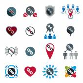 Teamwork business team and cooperation icons set with chain link — Stock Vector