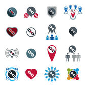 Teamwork business team and cooperation icons set with chain link — Vector de stock