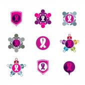 Breast cancer awareness idea. Vector illustrations of a group of — Stock Vector