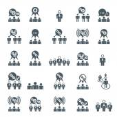 Teamwork and business cooperation theme creative vector icons se — Stock Vector