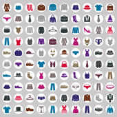 Clothes icons vector collection, vector icon set of fashion signs and symbols. — Stock Vector