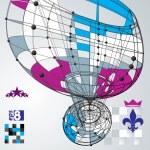 3D vector abstract design template, polygonal complicated contra — Stock Vector #55770001