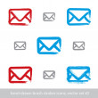 Collection of hand-drawn simple vector mail icons, set of brush — Stock Vector #55771729