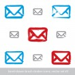 Collection of hand-drawn simple vector mail icons, set of brush — Stock Vector #55771759