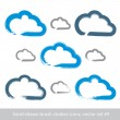 Set of hand-drawn simple stroke vector cloud icons, collection o — Stock Vector #55771775