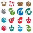 Packaging boxes icons isolated on white background vector set, p — Stock Vector #55771837
