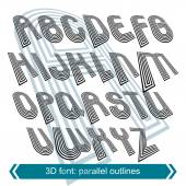 Dimensional font with rotation effect, perspective unusual scrip — Stock Vector