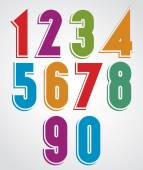 Colorful comic animated numbers with white outline. — Stock Vector