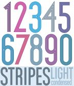 Poster retro condensed colorful numbers with stripes on white ba — Stock Vector