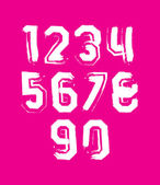 Creative handwritten white numbers set from 0 to 10, vector graf — Stock Vector