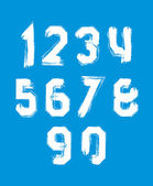 Freak white graffiti digits, set of vector unusual numbers drawn — Stok Vektör