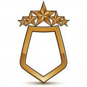 Heraldic vector template with five pentagonal golden stars, dime — Stock Vector
