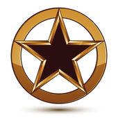 Refined vector black star emblem with golden outline, 3d pentago — Stock Vector