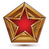 Branded golden geometric symbol, stylized star with red filling, — Stockvektor